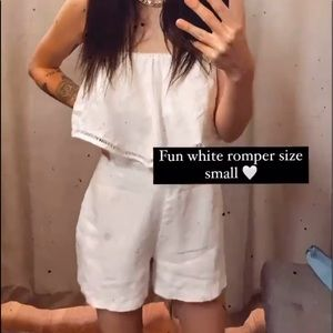 Karina Grimaldi White Linen Strapless Romper Small
